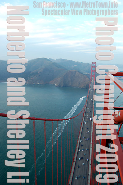 Photo from top of South Tower of Golden Gate Bridge in San Francisco taken by Norberto and Shelly Li circ  12-2008 to 09-2009