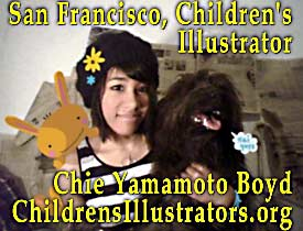 Photo of Children's Illustrator while student at San Francisco's   Academy of Art, Chie is holding a  children's project  and her pet dog - CLICK TO  HER   AREA  ON ChildrensIllustrators.org