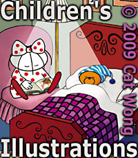 Sample Children's Illustrator's work of Child Bed Time Story  Time  art work by Cat Wong in San Francisco, California - CLICK TO CLARA AND CLARENCE BEAR ILLUSTRATIONS WEB SITE