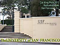 Entrance stairs-gate to the Univeristy of San Francisco camnpus