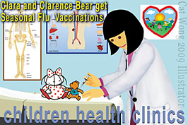 Very young children getting H1N1 flu vaccination from doctor, in this children's illustrators cartoon graphic by Cat Wong, San Francisco  childrens illustrator and book cover designer - CLICK FOR MORE ILLUSTRATIONS BY THIS SAN FRANCISCO CHILDREN'S ILLUSTRATOR AT www.childrensillustrators.org