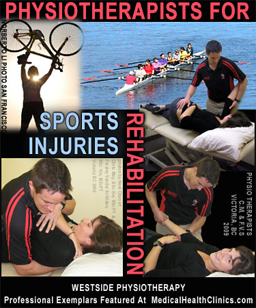 San Francisco avid biking enthusiast holds her bike in air as part of photo collage of sports  physical therapists working on ahtletes including a Eights Rower - a 8 member racing shell is also featured in this graphic