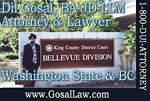 Dil Gosal, licensed as an Attorney in Washington State handles USA crininal cases as well as personal injury cases - is standing at the King County District Court House, Bellevue Division -- CLICK TO HIS WEBSITE --- GosalLaw.com
