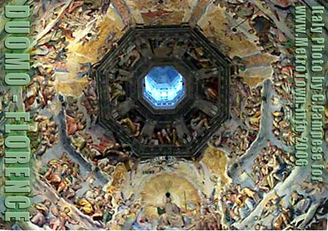 Photo of paintings of Christ and Bible stories on inside of DUOMO / dome of cathedral in Florence Itally, taken in available light by C.Campese
