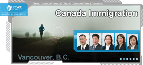 Lowe & Co.immigration-business lawyers photos of lawyers and Canada Immigration Consultants with background photo of solitary runner with quote from Steve Jobs
