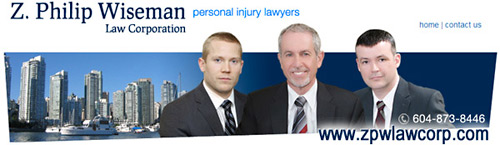 Philip Wiseman, with over 25 years experience as a personal injury, ICBC injury  claims disputes lawyer in this photo is flanked by lawyer and a former ICBC case manager, their office on 777 West Broadway is 2 blocks from Vancouver General Hospital