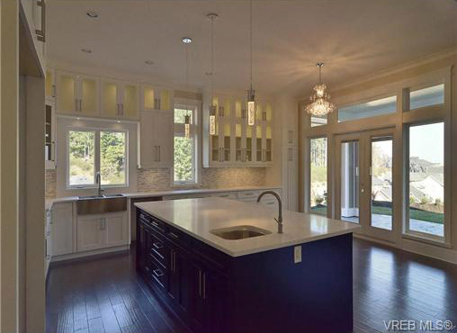 view of kitchen with large center island , BC